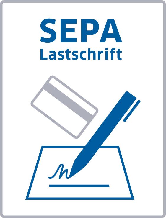 Das SEPA Lastschriftlogo, der SEPA-Schriftzug, eine Kontokarte und ein Stift, der eine Unterschrift andeutet.